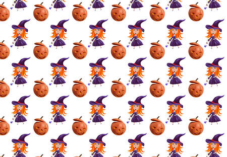 Halloween holiday, seamless pattern with little witch with a hat, pumpkins. Realistic characters Halloween. Vector illustration.