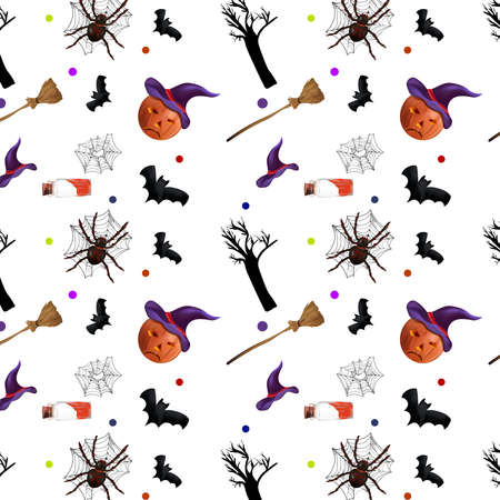 Halloween holiday, seamless pattern with spider, bats, magic potion, cobweb, pumpkins and broomstick. Concept Halloween. Vector illustration