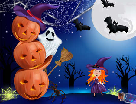 Pumpkin, cobweb, bats, broomstick, ghosts , spider and little witch with a hat. Happy characters under the moonlight. Beautiful characters Halloween. Vector illustration 矢量图像
