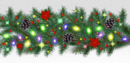Winter border with conifer branches and pine cones, light garland, poinsettia, red berries on transparent background. Christmas holiday. Realistic vector illustration. 免版税图像