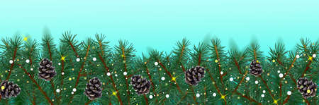 Christmas border with conifer branches and pine cones on blue background. Christmas evergreen branch. Realistic conifer for your design. Vector illustration