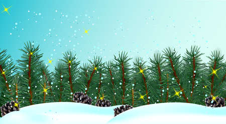 Christmas border with conifer branches and pine cones on blue background. Christmas branch in the snow. Realistic conifer for your design. Vector illustration 矢量图像
