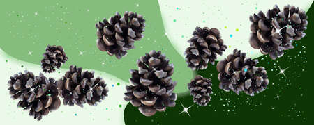 New Years, Christmas pine cones. Merry Christmas holidays concept. 3D Vector illustration of pine cones on a white-green background