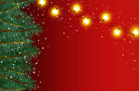 New Year, Christmas background with snowflakes, sparkles on a red background. Christmas tree branches with glowing garlands with copy space, blank, banner for your text. 3d vector illustration.