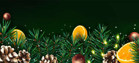 Christmas decor with of pine branches, pine cone, orange, sparkles, garland, and Christmas toys. Illustration with Christmas element for your poster, banner, cards. Vector illustration.