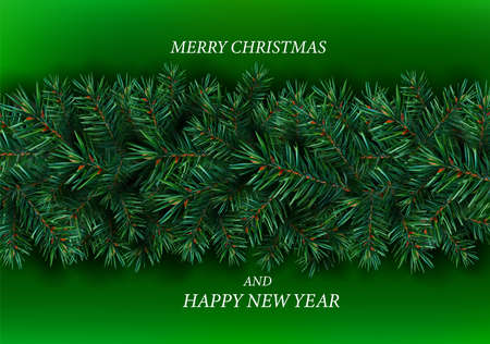 Realistic Christmas border of pine branches tree on green background. Christmas fir branches for your decor, banner, cards. Vector illustration. 免版税图像