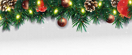 Realistic Christmas decor with of pine branches, pine cone, pomegranate, sparkles, light garland and Christmas toys on transparent background. Illustration for your poster, banner, cards. Vector.