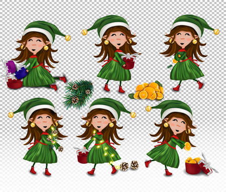 Set of Christmas elves with gift present. Christmas elements pine cone, present, orange, fir branches, magic garland. Vector icon . 免版税图像