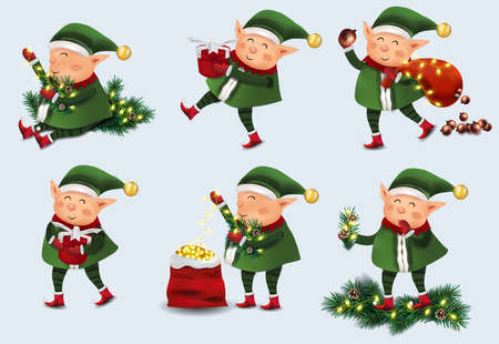 Christmas little Elf with gift presents. Set of cute elves in hat and mittens. Cute elves Santa Claus helpers. Vector illustration. 矢量图像