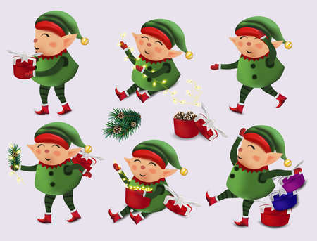 Christmas little Elf with gift presents. Set of cute elves in green costume. Cute elves Santa Claus helpers. Vector illustration 矢量图像