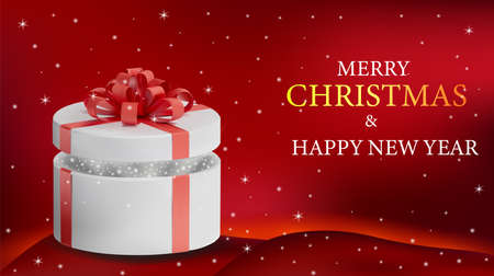 Background with open white box in a red ribbon and sparkles inside. Holiday, gift round box on red background. Merry Christmas and Happy New Year. Vector illustration.
