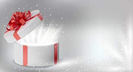 Gift white box in a red ribbon and bow on top. Holiday, gift round box with sparkles inside and bright rays of light. New Year and Christmas design. Vector illustration