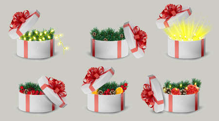 Gift white box in a red ribbon and bow on top. Holiday, gift round box with sparkles, pine cones, orange, garland inside and bright rays of light. New Year and Christmas design. Vector illustration