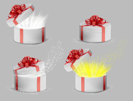 Collection Gift white box in a gold ribbon and bow on top. Holiday, gift round box with sparkles inside and bright rays of light. New Year and Christmas design. Vector illustration. Ilustracja