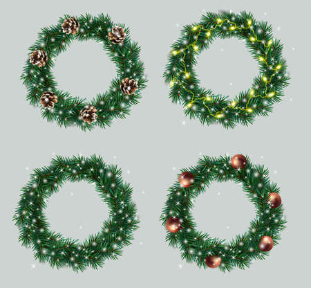 Set a Christmas wreaths made of pine branches decorated light garland, pine cones, toys, shiny sparkles. Green Christmas wreaths for your design. Vector illustration.