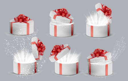 Collection Gift white box in a red ribbon and bow on top. Opened Holiday round box with sparkles inside and bright rays of light. Celebration decoration objects. Vector illustration
