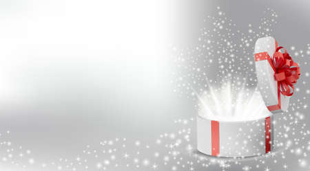 White box in a red ribbon and bow on top. Opened Holiday round box with glowing glitter sparkles and bright rays of light inside. Celebration decoration objects. Vector illustration.