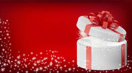 White box in a red ribbon and bow on top. Gift round box with glowing glitter sparkles and bright rays of light. Celebration decoration objects. Vector illustration.