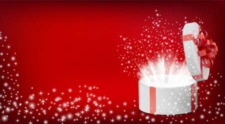 Gift white box in a red ribbon and bow on top. Opened Holiday round box with glowing sparkles inside and bright rays of light. Celebration decoration objects. Vector illustration. Ilustracja