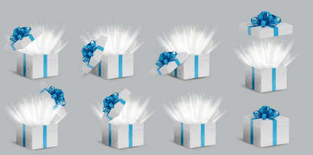 Collection Gift white box in a blue ribbon and bow on top. Opened and closed Holiday box with sparkles inside and bright rays of light. Celebration decoration objects. Vector illustration.