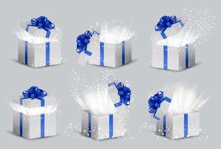 Collection White box in a blue ribbon and bow on top. Opened Holiday box with glowing glitter sparkles and bright rays of light inside. Celebration decoration objects. Vector illustration