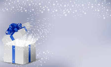 White box in a blue ribbon and bow on top. Opened Holiday box with glowing glitter sparkles and magic light inside. Celebration decoration objects, New Year and Christmas design. Vector illustration