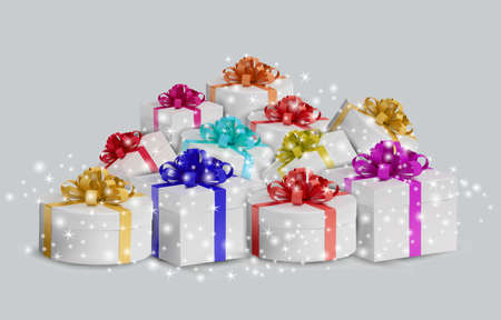 Set white gift box with glitter sparkles. Realistic, closed Holiday box on white background. Celebration decoration objects. Vector illustration Ilustracja