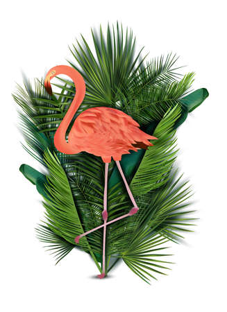 Flamingo pink on white background. Exotic Bird Flamingo with tropical leaves. Realistic vector illustration.