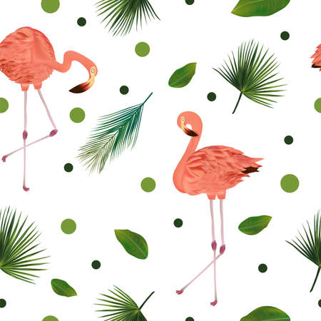 Seamless pattern with tropical leaf and pink flamingo. Beautiful pink bird and palm leaves on white background. Vector illustration. Ilustracja