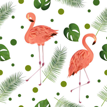Seamless pattern with tropical leaf and pink flamingo for your design, wallpapers, textile. Beautiful pink bird and palm leaves, monstera on white background. Vector illustration. Ilustracja
