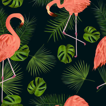 Seamless pattern with tropical leaf and pink flamingo for your design, wallpapers, textile on dark background. Vector illustration Ilustracja