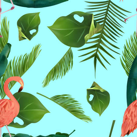 Seamless pattern with tropical leaf and pink flamingo for your design, wallpapers, textile on blue background. Vector illustration. Ilustracja