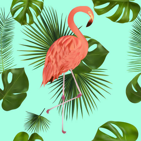 Tropical leaf and pink Flamingo on green background. Seamless pattern for your design, wallpapers, textile. Vector illustration.