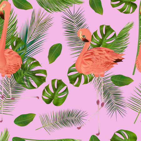 Tropical leaf and pink Flamingo on pink background. Seamless pattern for your design, wallpapers, textile. Vector illustration. Ilustracja