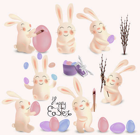 Cute rabbits with easter egg isolated on white background. Easter rabbit. Happy Easter. 3D vector. Ilustracja