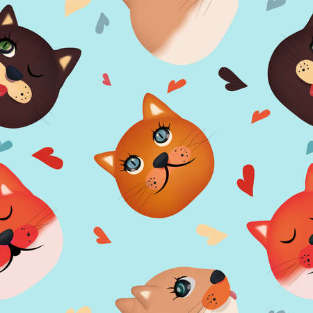 Cute cat Faces seamless pattern. Colorful faces cat on blue background. 3D Vector illustration.