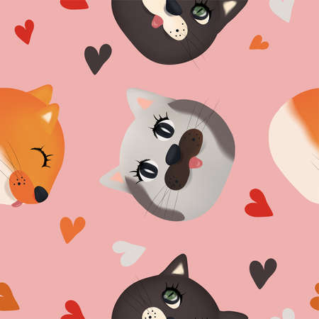 Cute cat Faces seamless pattern. Colorful faces cat with heart on pink background. 3D Vector illustration.