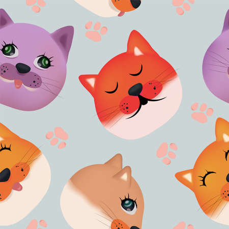 Colorful faces cat. Seamless pattern with cute cat face. 3D vector illustration.