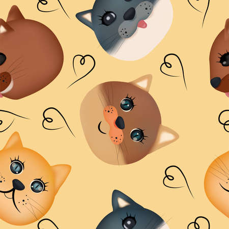 Colorful cute funny cat faces . Beautiful Seamless pattern with cute cat face. 3D vector illustration. Ilustracja