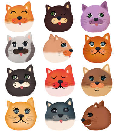 Collection of cute cat faces on white background. Colorful domestic cat faces. Vector icon.