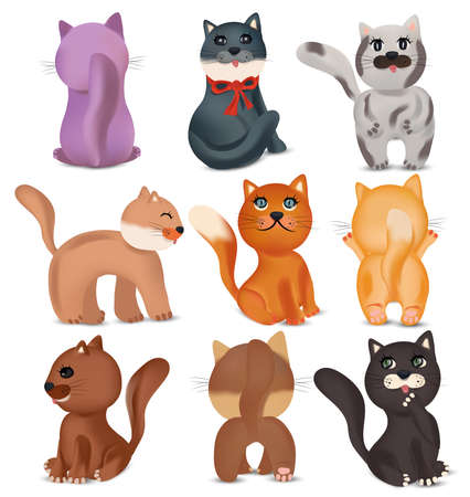 Cute cats in different poses. Domestic, funny cats on white background. Colorful cats. Vector icons. Ilustracja