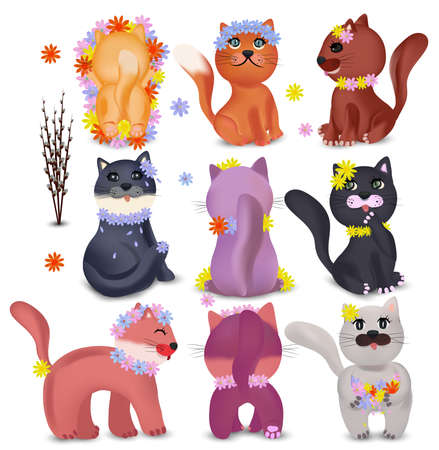 Cute cats in different poses with colorful flowers. Domestic, funny cats on white background. Colorful cats and Spring flowers. Vector icons Ilustracja