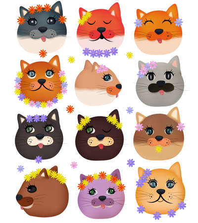 Collection of cute cat faces with flowers on white background. Colorful domestic cat faces and Spring flowers. Vector icon Ilustracja