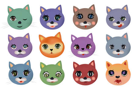Funny cute cats faces with different emotions. Colorful cats happy, sad, crazy, cheerful. Cat characters. Vector illustration. Ilustracja