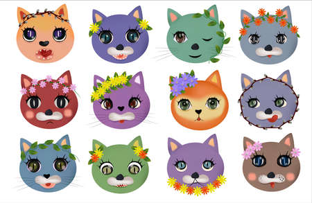 Funny cute cats faces with different emotions with Spring flower. Colorful cats happy, sad, crazy, cheerful. Cat characters. Vector illustration Ilustracja