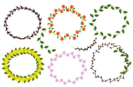 Wreath Fresh Flowers and leaf. Lavender, chamomile, jasmine, Spring flower. Collection Wreaths from flowers for your design. Vector illustration.
