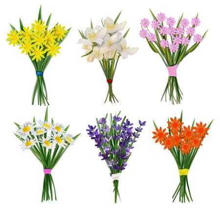Summer Fresh Flowers bouquets. Collection of flowers with bows for woman. Lavender, chamomile, jasmine, Spring flower. Vector illustration.