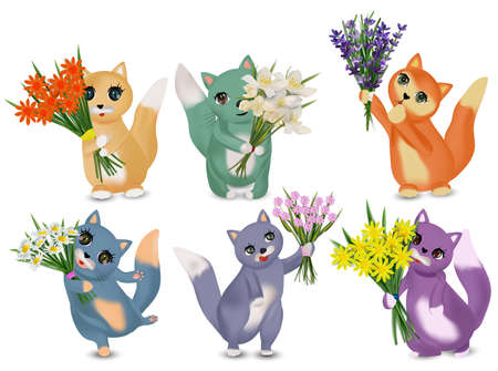 Cat holding bouquets for women. Summer Fresh Flowers bouquets with cat. Lavender, chamomile, jasmine, Spring flower. Vector illustration Ilustracja