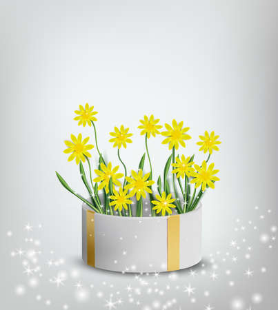 Floral collection yellow chamomile in the gift box. Spring flower. Love concept, Mothers Day. Illustration for your design. Vector illustration. Ilustracja