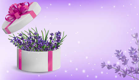 Floral collection lavender in the gift box. Spring nature. Love concept, Mothers Day, Woman day. Illustration for your design. Vector illustration.